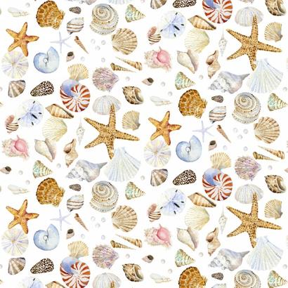 Roomwitte stof met schelpen - Coastal Paradidise-Henry Glass