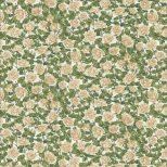 Witte quiltstof met roosjes en blaadjes