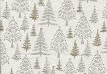 Ecru stof met beige kerstbomen