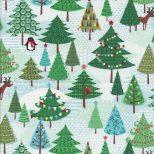 Licht blauwgroene stof met diverse kerstbomen