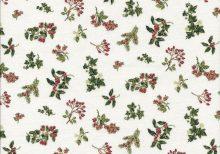 Ecru stof met groene kerst takjes en rode besjes