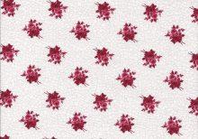 Witte stof met roze crackle motief en donkerrode roosjes