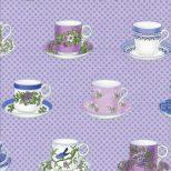 Lavendel kleur blokjes stof met kop en schotels