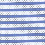 Room witte stof met lila paarse dwars streep en stippen