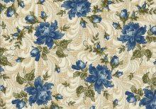 Ecru stof met blauwe rozen