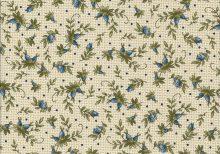 Ecru stof met blaadjes en blauwe rozen knopjes