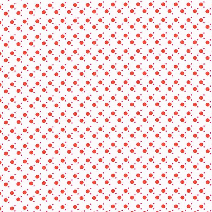 Witte stof met oranje stippen en roze mini stipjes.