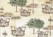 Beige stof met Frans bistro setjes tussen bomen
