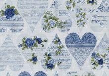 Lavendel blauwe stof met harten, rozen en tekst