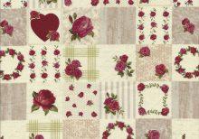Ecru beige stof met rode rozen en hartjes in blokken