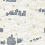 Kerststof roomwit met zilveren sterren en zilvergrijs dorpje