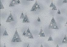Licht zilvergrijze stof met donker grijze boompjes en zilveren stipjes.