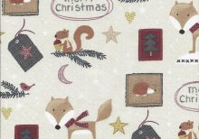 Creme kleur stof met bosdiertjes en labeltjes kersttekst