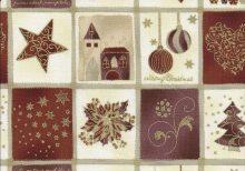 Roomkleur en koperkleur stof met in blokjes kerstmotieven