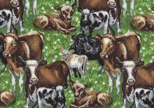 Gras groene stof met koeien
