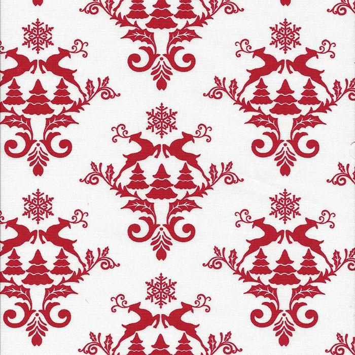 Witte stof met rode ornamenten met rendieren.