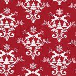 Rode stof met witte ornamenten met rendieren.