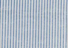 Blauwe witte en taupe streepstof.