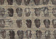 Donker beige antiek look stof met tekst en mannentorso