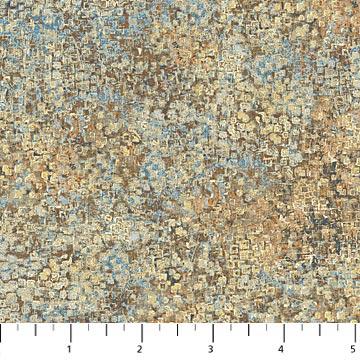 Bewerkte stof met o.a. Beige, bruin en ecru-Northcott