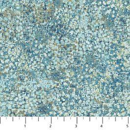 Bewerkte stof met o.a. Blauwgroen,oker-Northcott