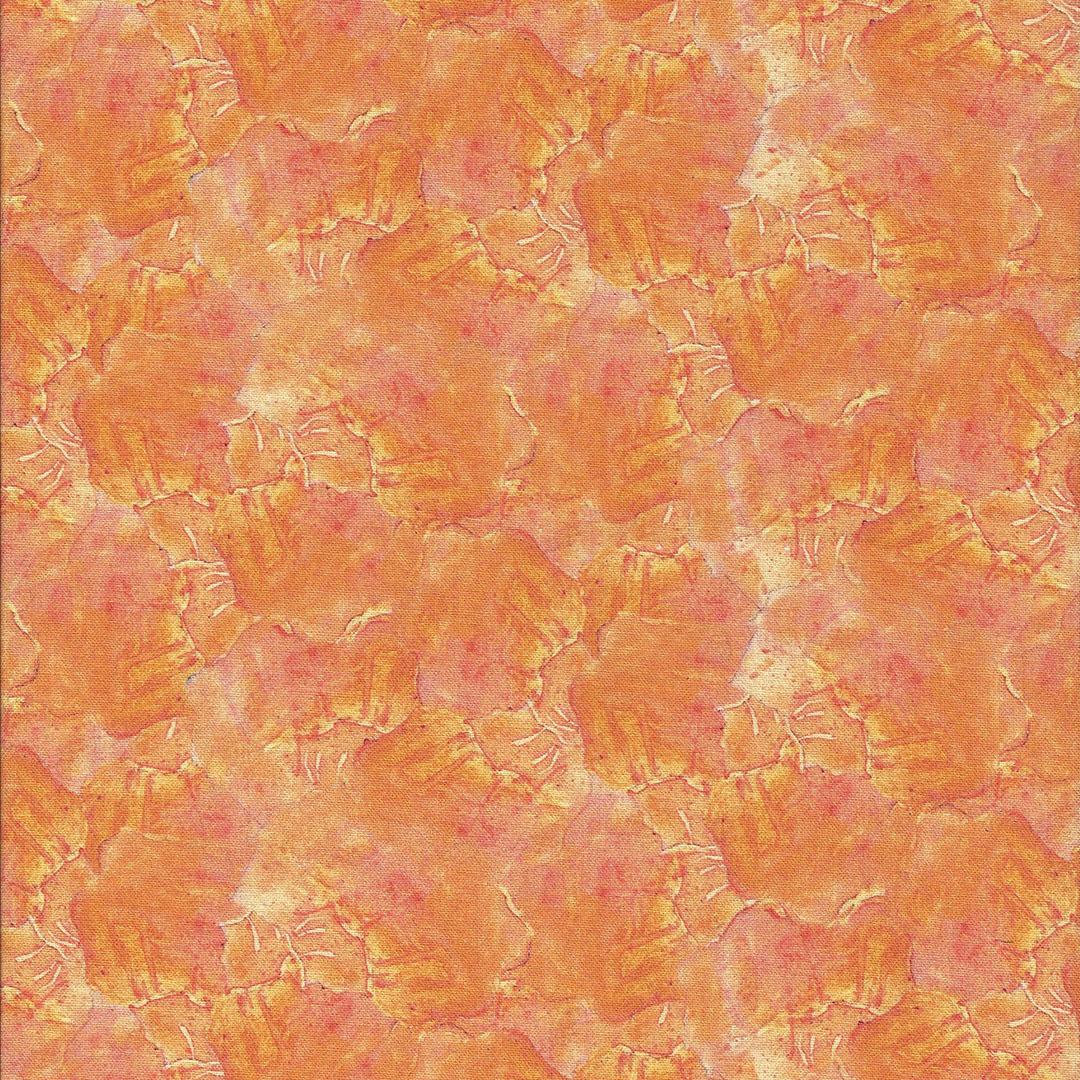 Oranje stof met vaag schelpen motief