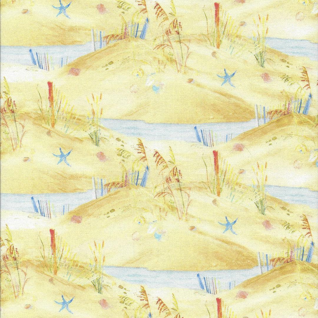 Gele strandstof met water poeltjes