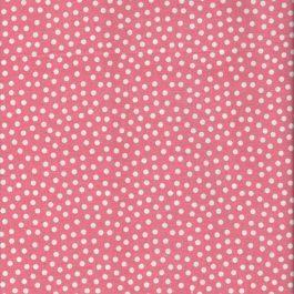 Roze quiltstof met witte stippen