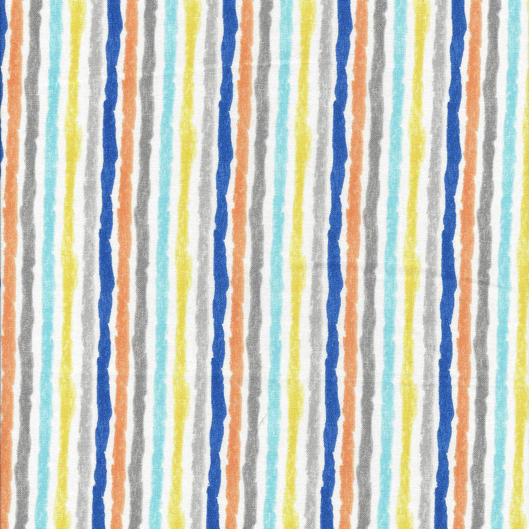 Witte stof met blauwe, gele,oranje en grijze strepen