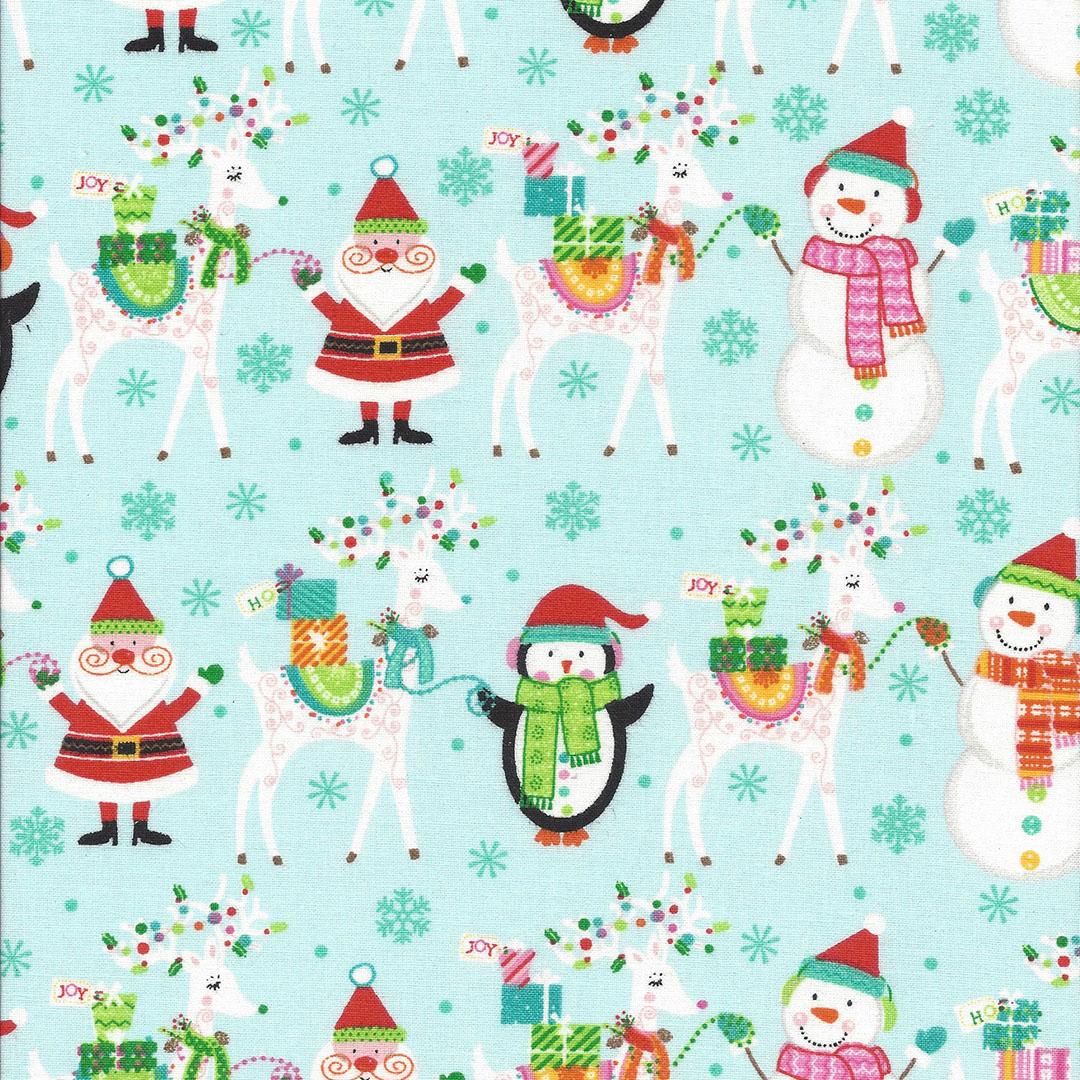 Blauw groene stof met kerstfiguren