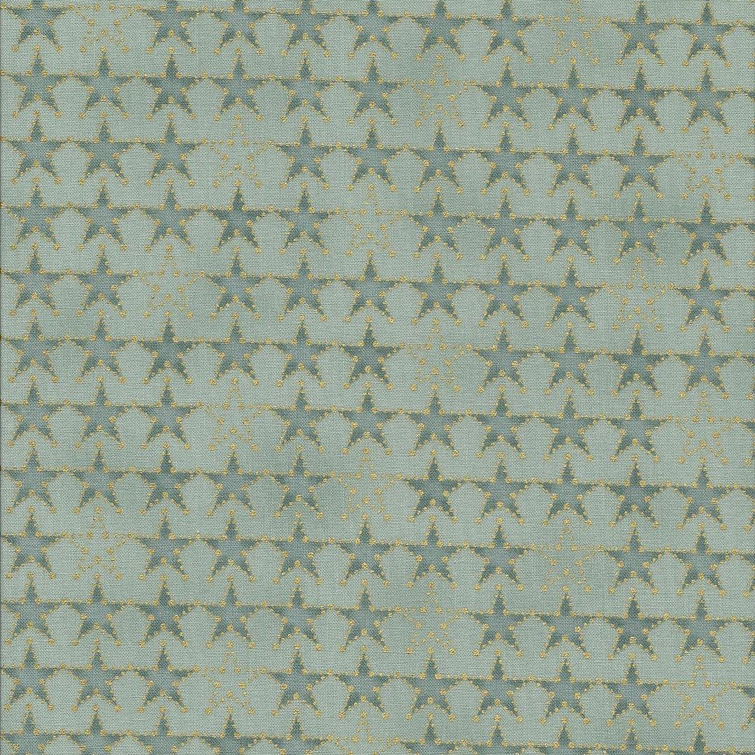 Licht groene stof met gouden sterren