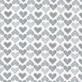 Witte stof met donker en licht grijze en zilveren hartjes