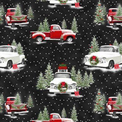 Witte kerststof met rode en witte kerst auto's Henry Glass