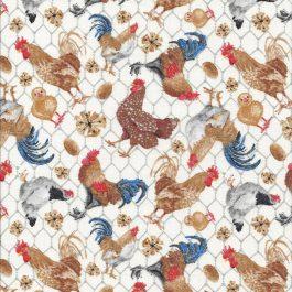 Roomwitte stof met kleurige kippen-Blank