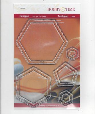 Transparante Quiltstempel CRP0195 Hexagonnen en Pentagon