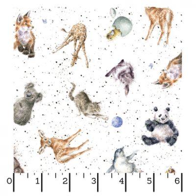 Ecru kleurige stof met dieren afbeeldingen