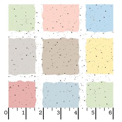 Witte stof met Beige-gele-l. groene-roze en blauwe vlakken en donker bruine stippen