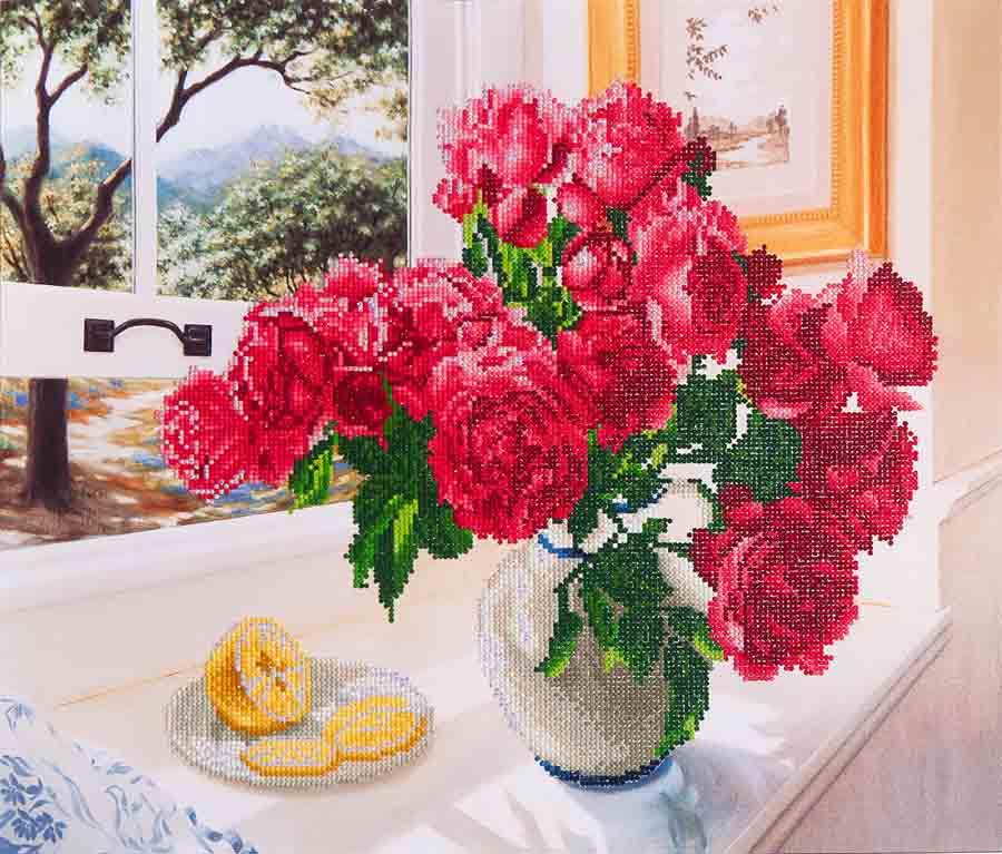 Diamond Dotz Roses by the Window Design Size 57 x 49cm