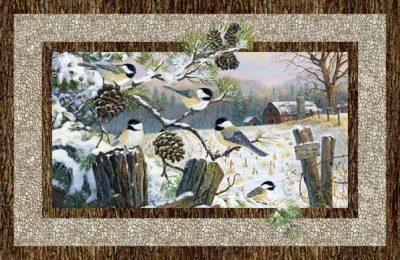 Panel winter tafereel met vogels digital
