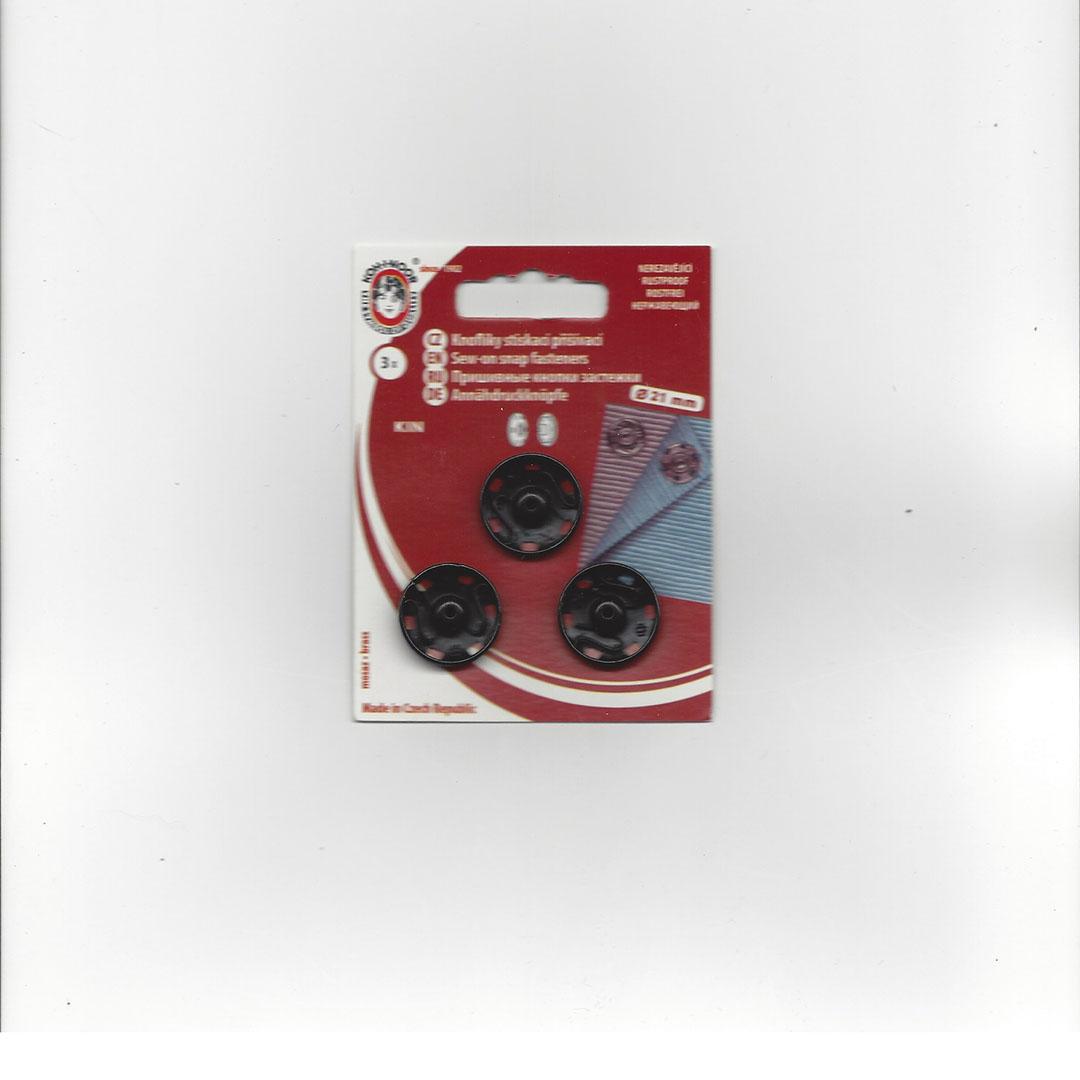 Aannaai Drukknopen 21 mm zwart
