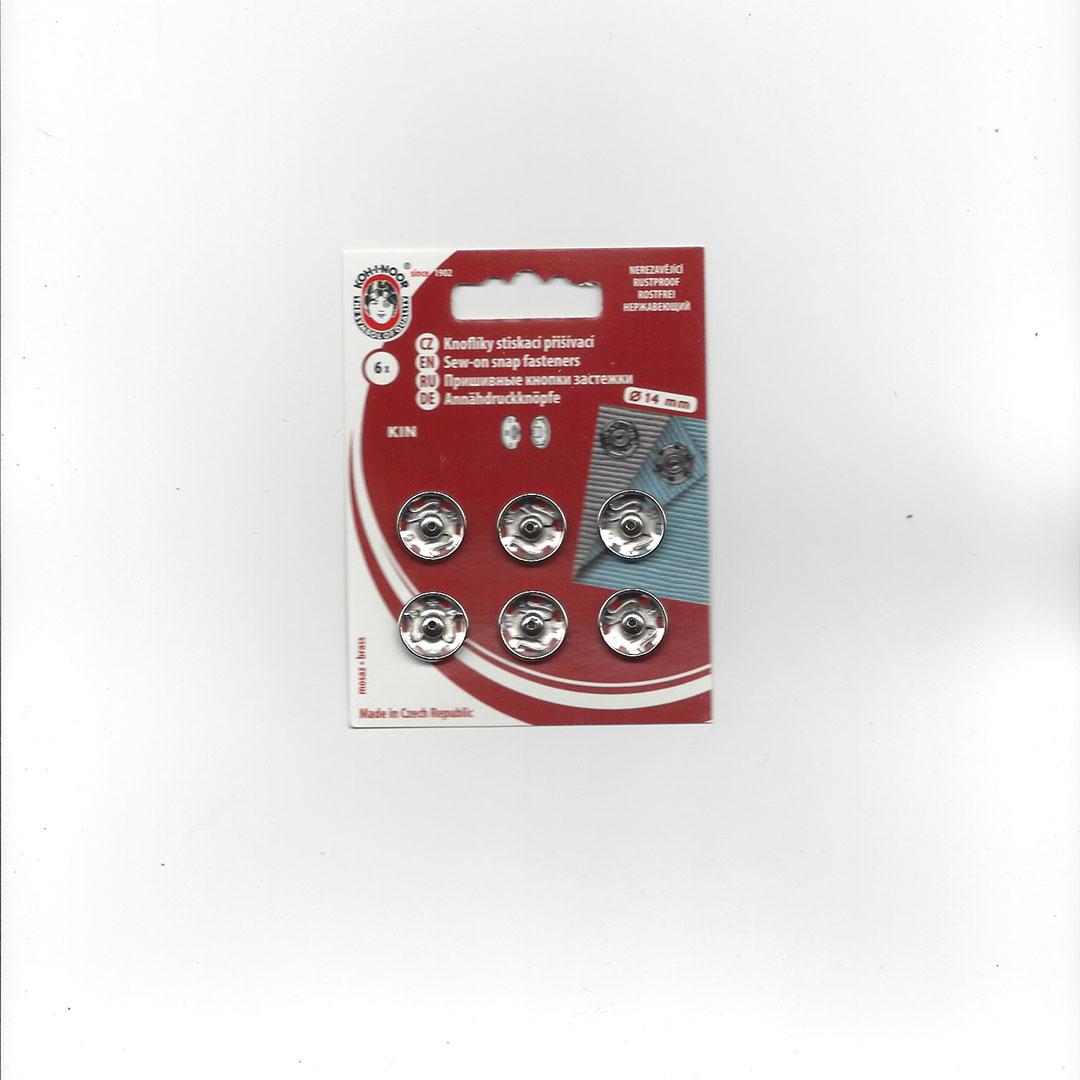 Aannaai Drukknopen 14 mm zilver
