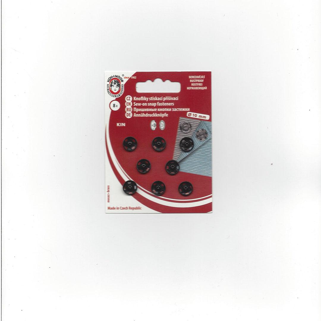 Aannaai Drukknopen 10 mm zwart