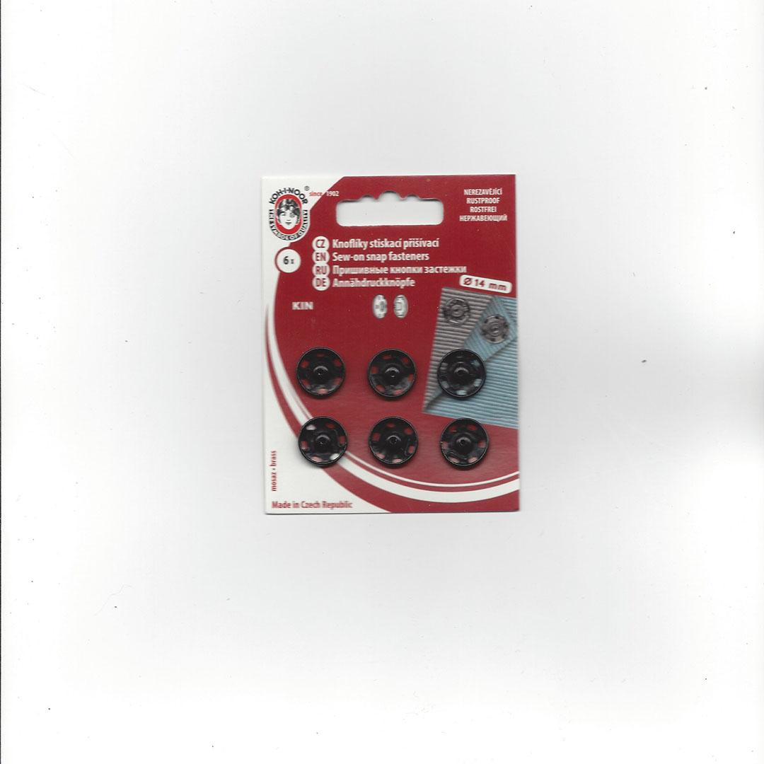 Aannaai Drukknopen 14 mm zwart