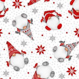 Witte flanel stof met kerst Gnoompjes