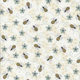 Roomwitte stof met bijtjes-Henry Glass