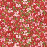 Rode stof met appel bloesem