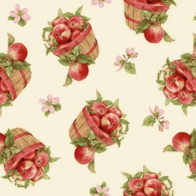 Ecru kleurige stof met appel mandjes
