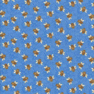 Blauwe bloemenstof met bijtjes