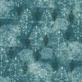 Petrol kleurige stof met grafisch patroon-Hoffman