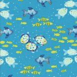 Licht blauwe stof met vis motieven-Henry Glass
